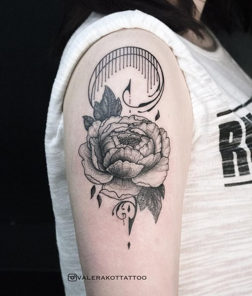 Peony flower tattoo on girl&quots shoulder in engraving style by Valera Kot