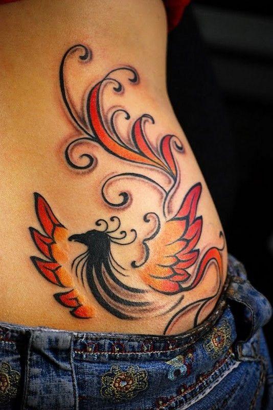 Phoenix tattoo on ribs for girls