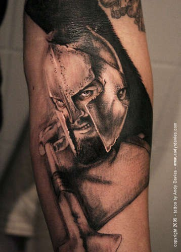 Photo like 3D realistic detailed Spartan warrior with spear tattoo on arm