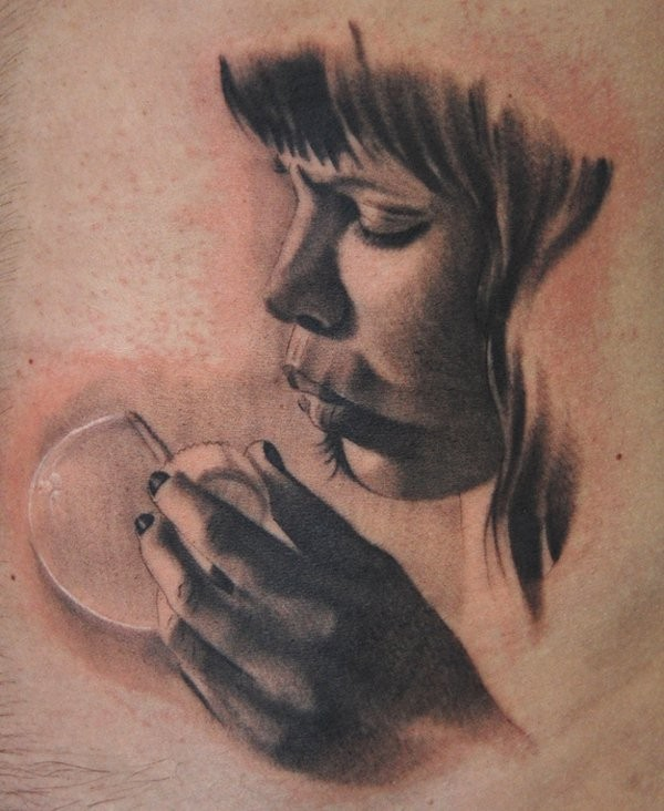 Photo like 3D realistic young girl blowing a bubble lifelike tattoo