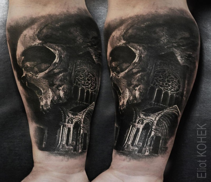 c9a78d2ee949a Photo like detailed by Eliot Kohek forearm tattoo of human skull with old  cathedral