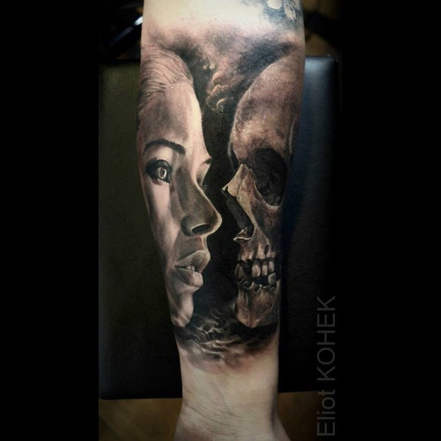 Photo like detailed forearm tattoo of woman portrait stylized with skull