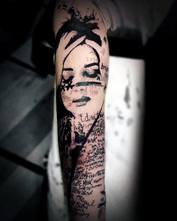 Photoshop style black ink arm tattoo of lettering and woman face