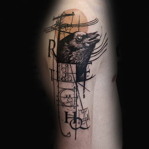 Photoshop style black ink shoulder tattoo of crow with lettering