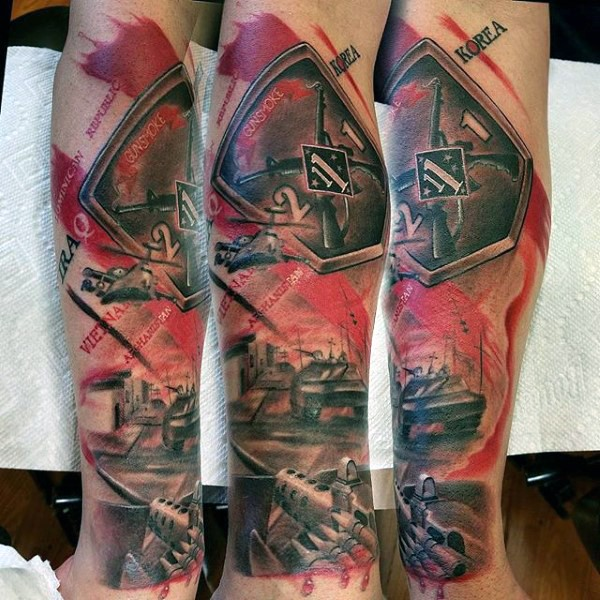 Photoshop style colored arm tattoo of various military weapons