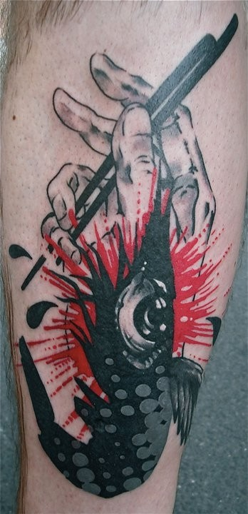 Photoshop style colored arm tattoo of hand with japanese sticks