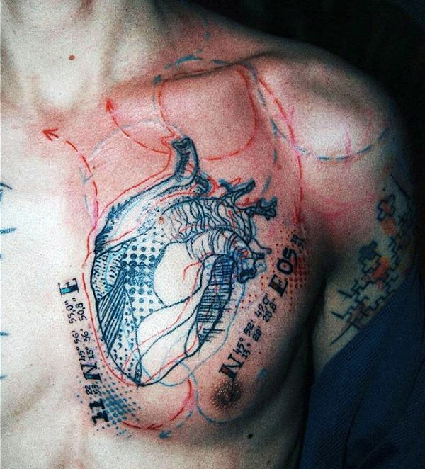 Photoshop style colored chest tattoo of human heart with for Color chest tattoos