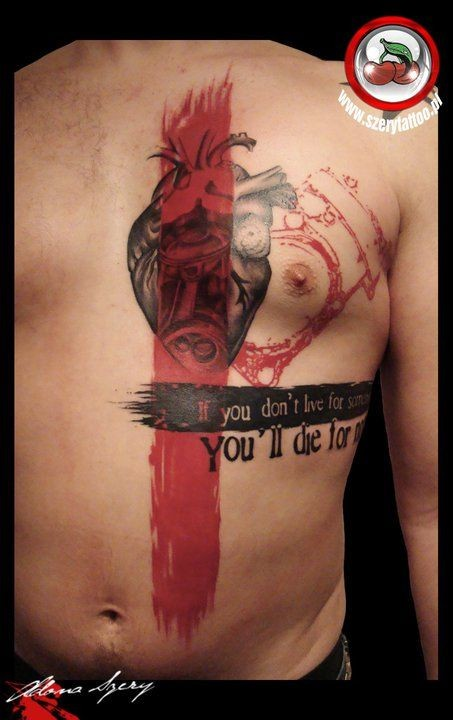 Photoshop style colored chest tattoo of human heart with lettering