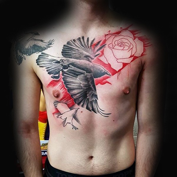 Photoshop style colored chest tattoo of black crow with roses
