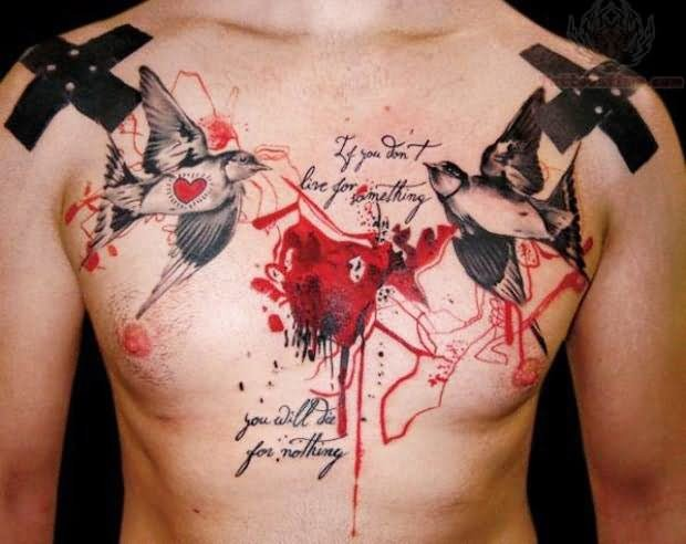 Photoshop style colored chest tattoo of human heart with lettering and birds