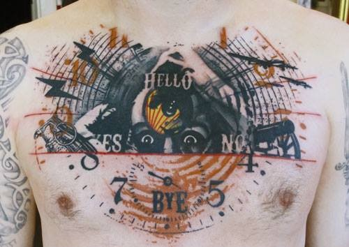 Photoshop style colored chest tattoo of creepy face with lettering and clock