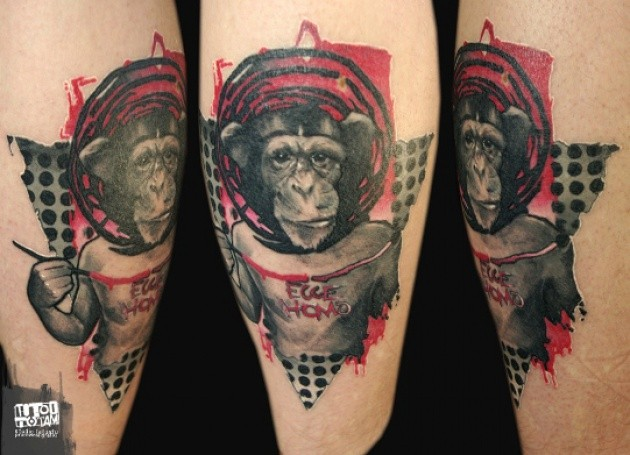 Photoshop style colored funny monkey with lettering tattoo