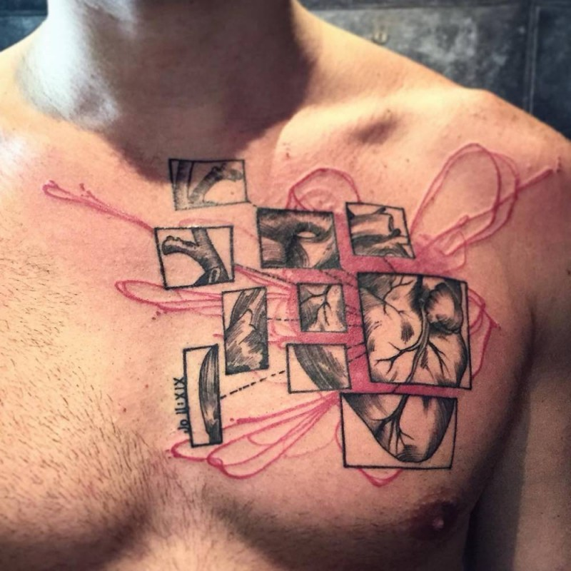 Photoshop style colored heart tattoo on chest