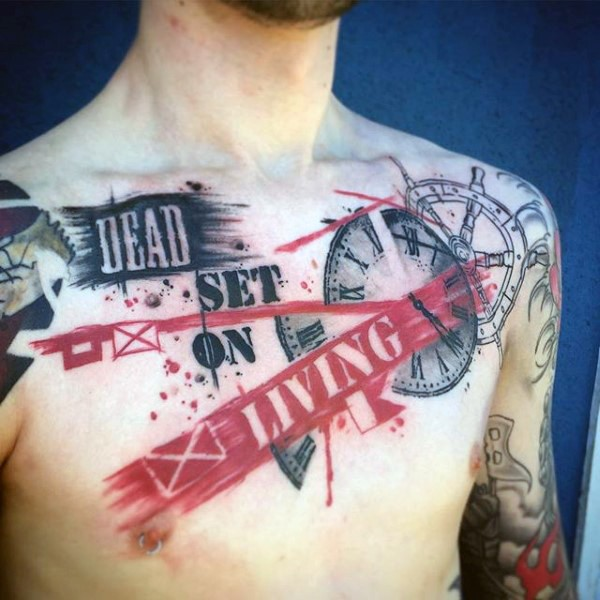 Photoshop style colored lettering with clock tattoo on chest