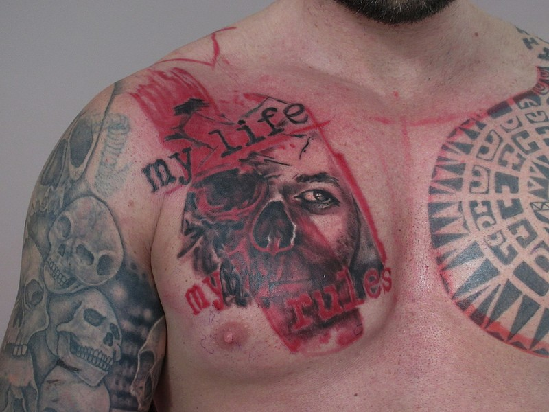 Photoshop style colored portrait with lettering tattoo on chest