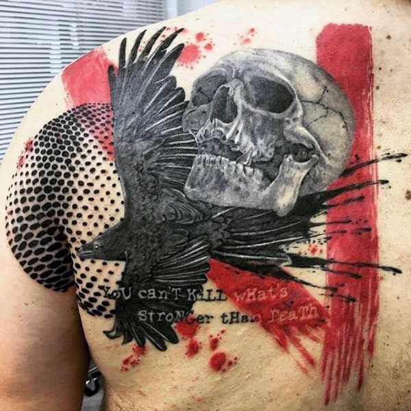 Photoshop style colored scapular tattoo of human skull with lettering and crow