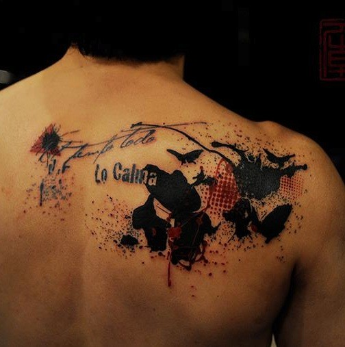 Photoshop style colored scapular tattoo stylized with lettering