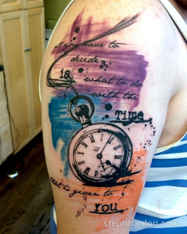 Photoshop style colored shoulder tattoo of clock with lettering