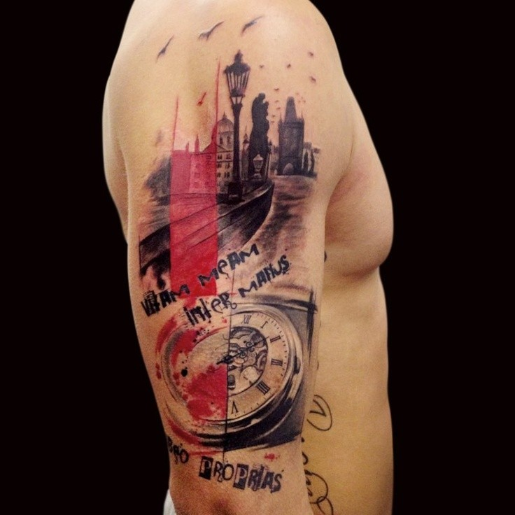 Photoshop style colored shoulder tattoo of old town with clock