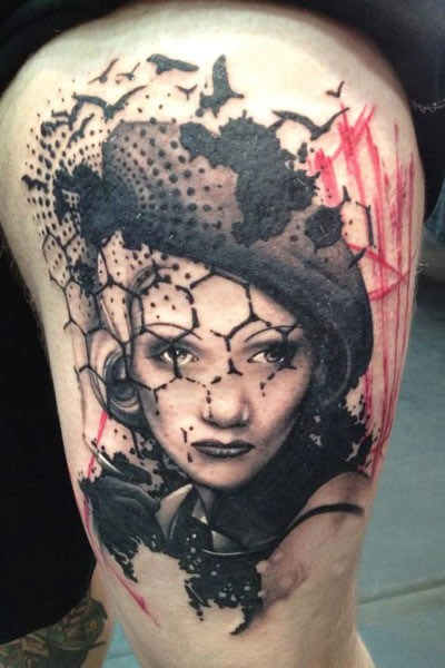 Photoshop style colored shoulder tattoo of seductive vintage woman with birds