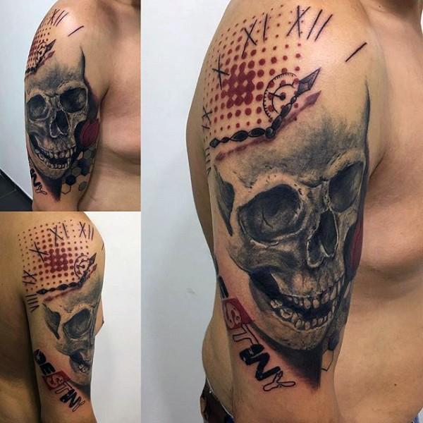 Photoshop style colored shoulder tattoo of human skull with big clock