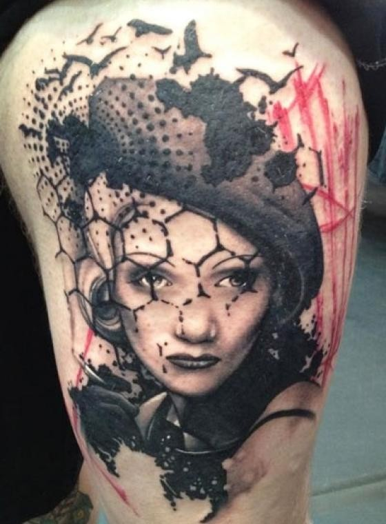 Photoshop style colored shoulder tattoo of vintage woman face