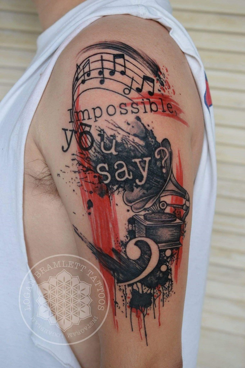 Photoshop style colored shoulder tattoo of old gramophone with lettering