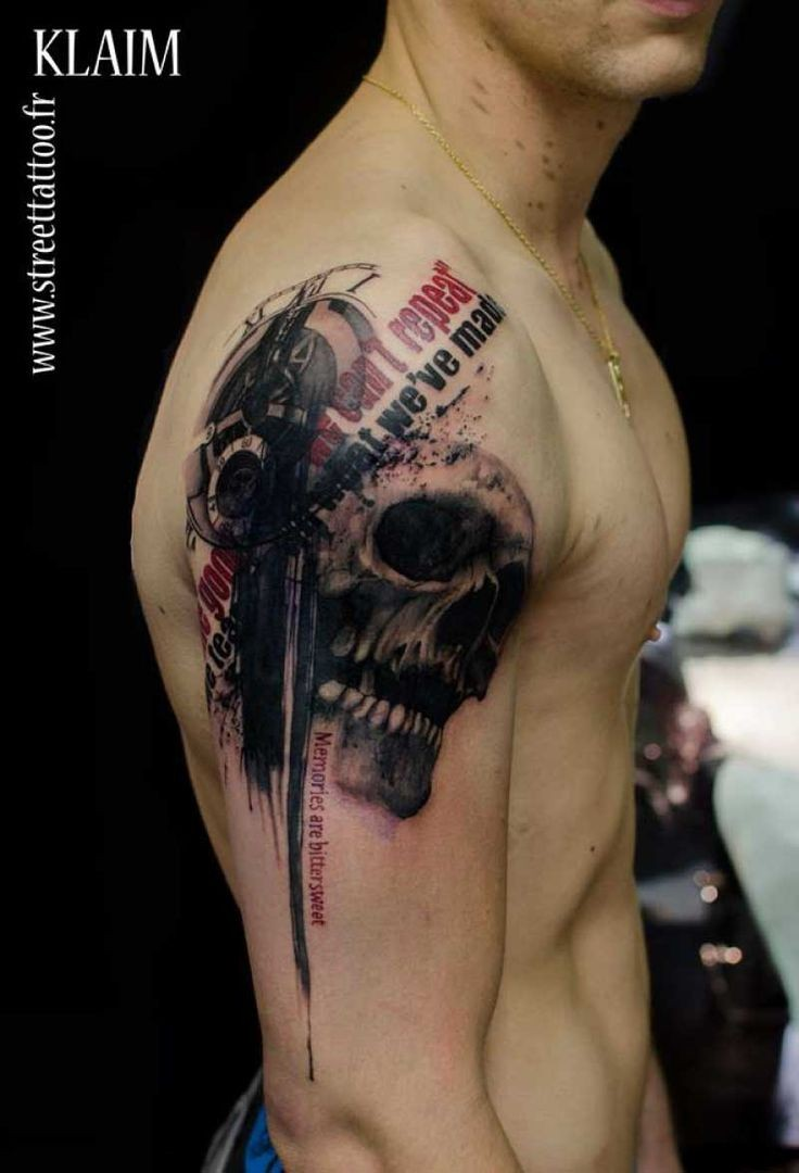 Photoshop style colored shoulder tattoo of human skull with lettering