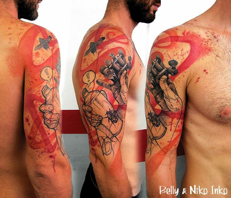 Photoshop style colored shoulder tattoo of old tattoo machine with spray paint