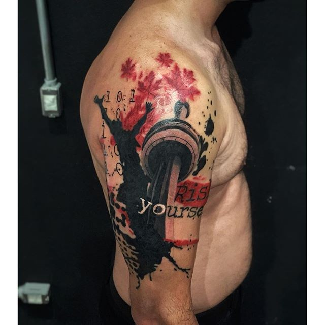 Photoshop style colored shoulder tattoo of various statues and leaves