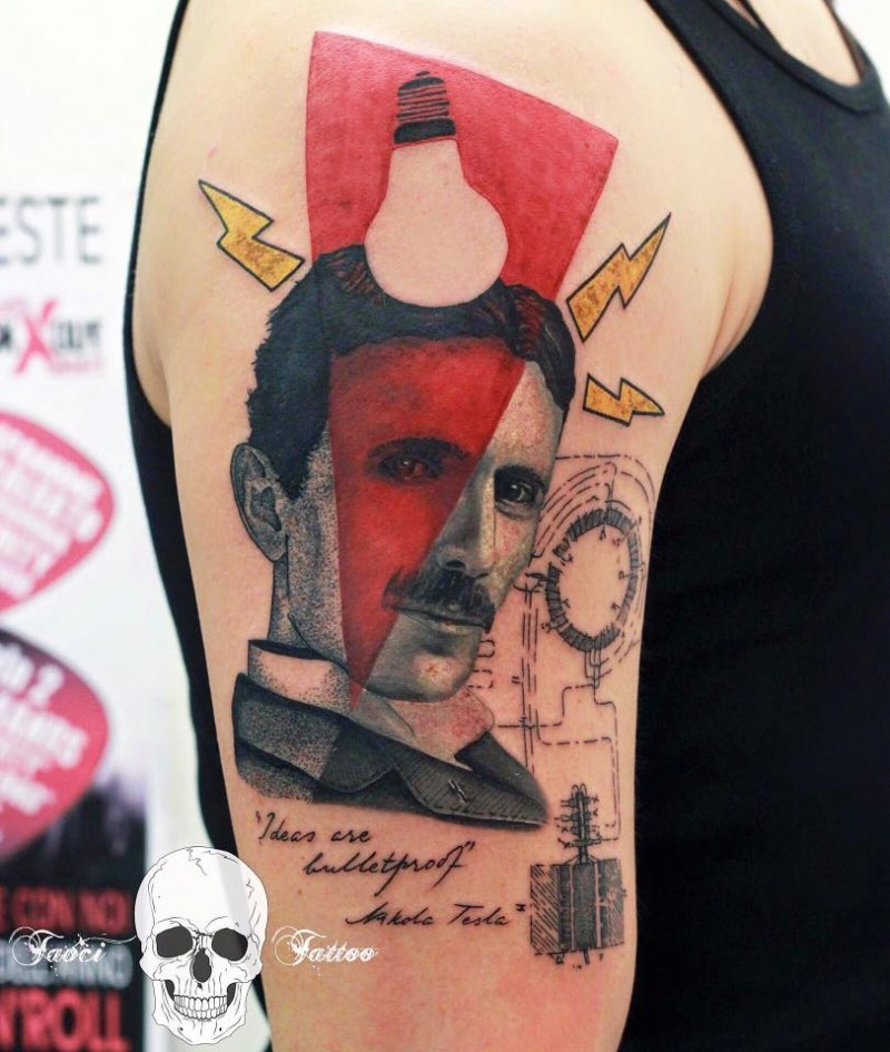 Photoshop style colored shoulder tattoo of Nikola Tesla with lettering and bulb