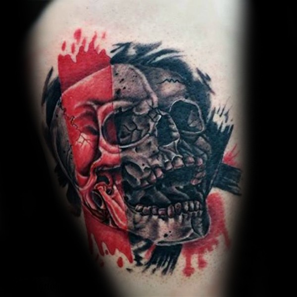 Photoshop style colored thigh tattoo of human skull with red and black lines