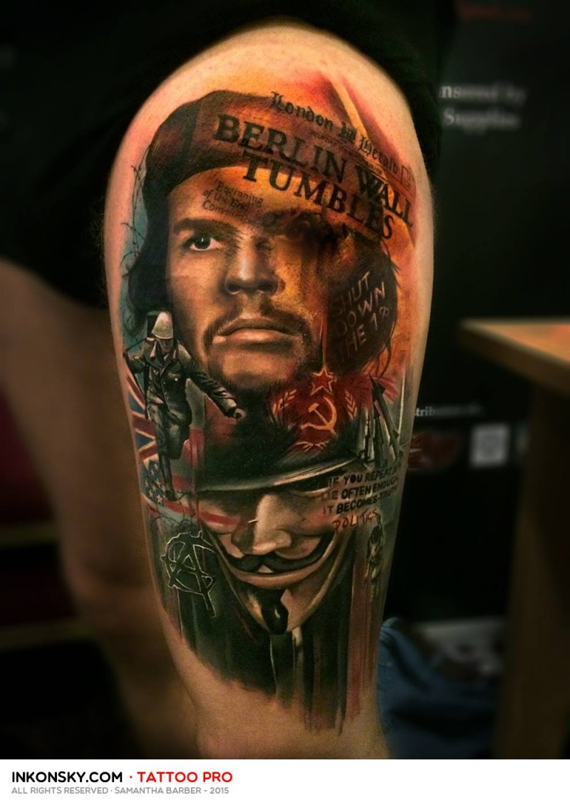 Photoshop style colored thigh tattoo of Che Guevara with lettering and Anonymous