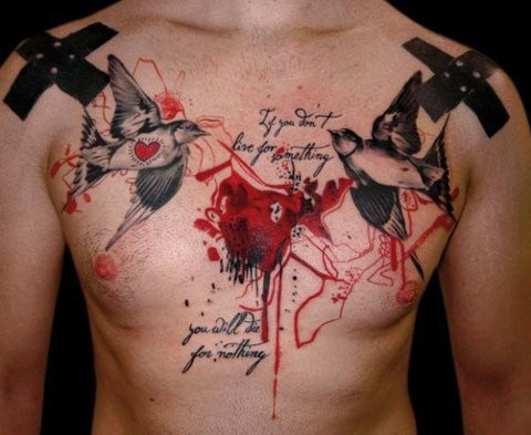 Photoshop style colorful chest tattoo of black crosses with birds, hearts and lettering