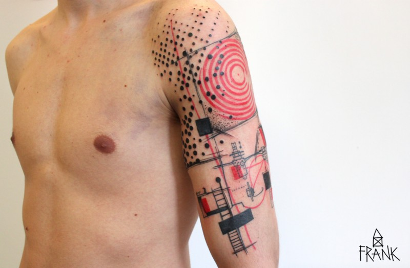Photoshop style funny looking colored big tattoo on shoulder