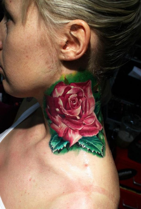 Picturesque 3D lifelike pale pink rose flower colored neck tattoo