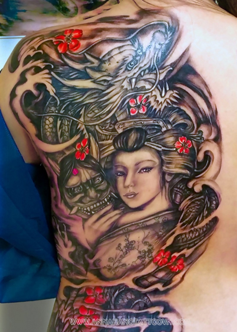 Picturesque colored big half back tattoo of Asian geisha with dragon and demons