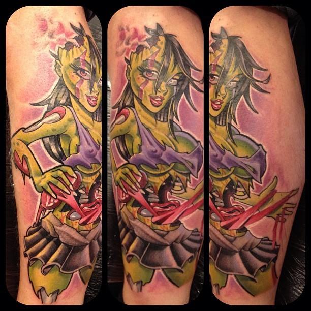 Pin up zombi girl tattoo by Mat Lapping