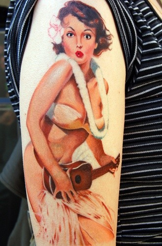 Pinup girl dancer tattoo by Keith Ciaramello