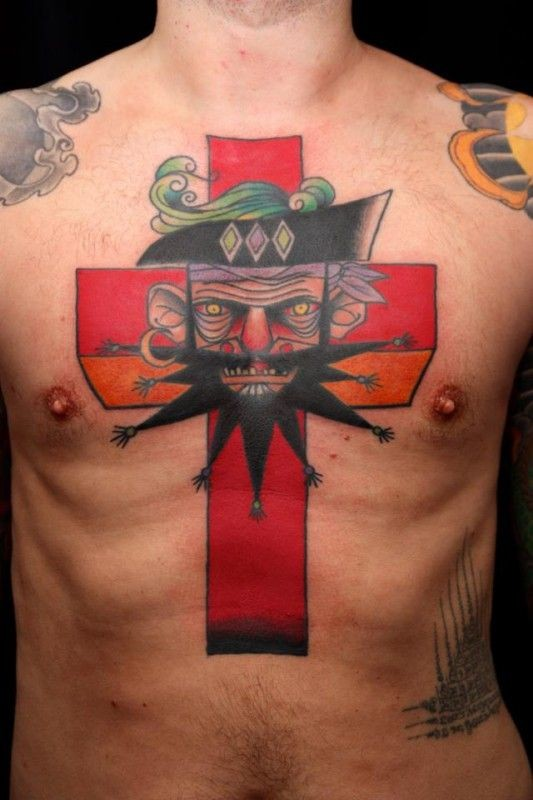 pirate cross tattoo on chest by jimmy duvall. Black Bedroom Furniture Sets. Home Design Ideas