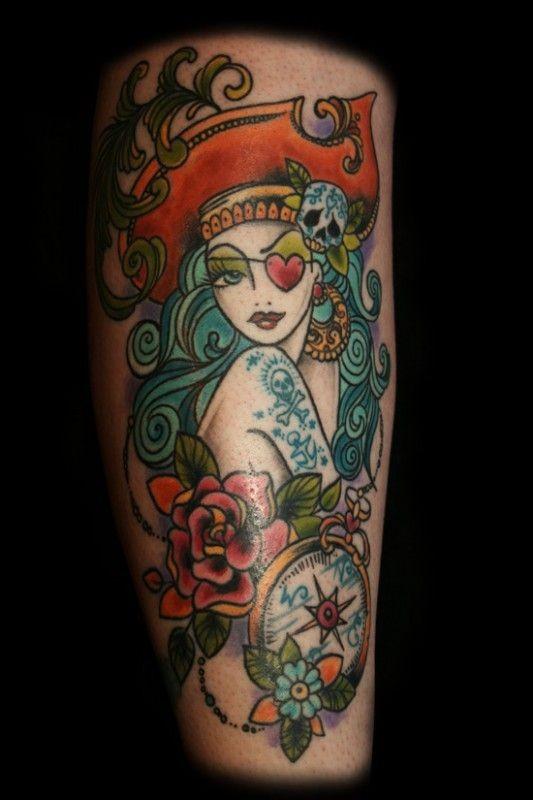 Pirate lady classic tattoo by dawnii fantana