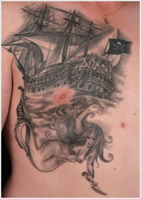 Pirate ship and mermaid with a knife tattoo