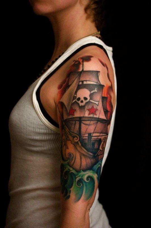Pirate ship classic tattoo on arm