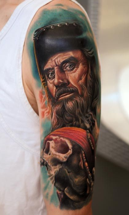 Realistic pirate with a skull in hand of nikko hurtado