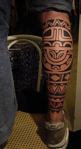 Polynesian tattoo foot