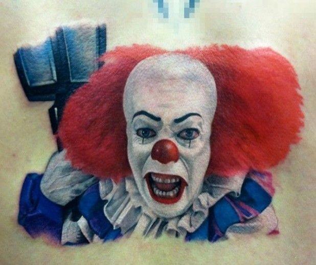 Portrait of scary clown tattoo