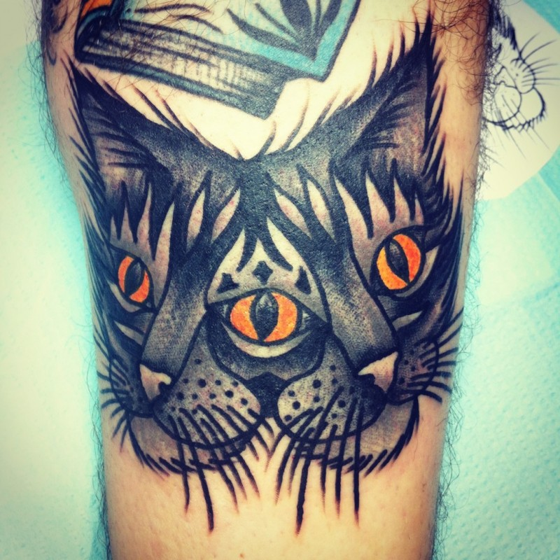 Portrait of a cat with two heads tattoo