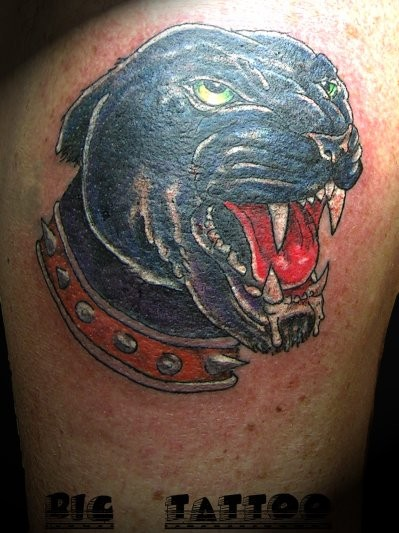 Portrait of a panther in red dog collar tattoo
