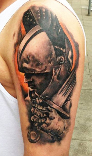 Portrait of a warrior in armor with sword tattoo