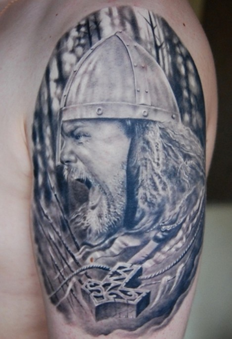 Portrait of a warrior wearing a helmet and talisman tattoo